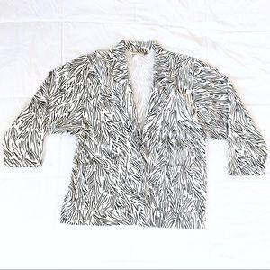 80s Zebra Vintage Blazer Chore Coat Oversized